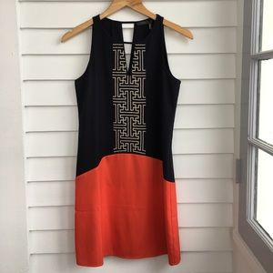 THML embroidered color block mini dress
